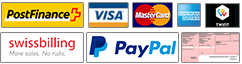 Postfinance, Visa, Mastercard, Swissbilling, Paypal, Virement bancaire